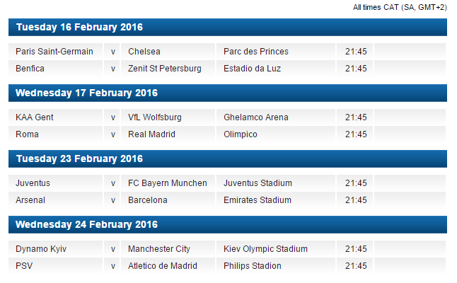 The Champions League last 16 draw